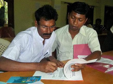Chhatradhar Mahato (left) filing his nomination as an independent candidate for Jhargram Assembly seat in West Midnapore in 2011.