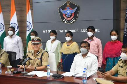 Six Maoist cadres who surrendered presented to the media by Director General of Police D. Gautam Swang, in Mangalagiri, Guntur district of Andhra Pradesh, on August 12.